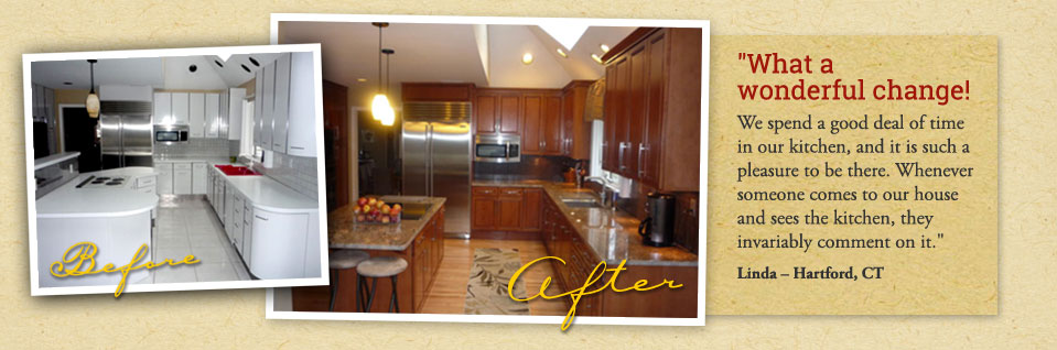 Before and after picture of a CT kitchen with refaced cabinets by Heartwood Cabinet Refacing.